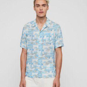 NEW ALL SAINTS Sayonara Hawaiian Shirt Aqua S